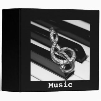 """Music Piano Bar with gclef  2""""8 3 Ring Binder"""