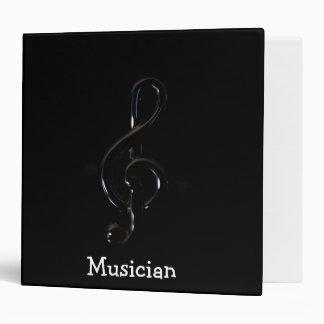 "Music Piano Bar with gclef  2""8 BLACK Vinyl Binder"