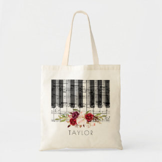 music piano burgundy floral name