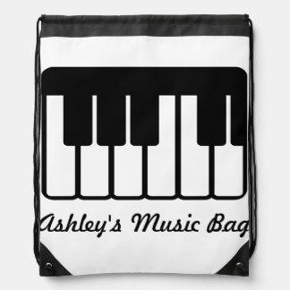 Music Piano Keyboard Drawstring Backpack