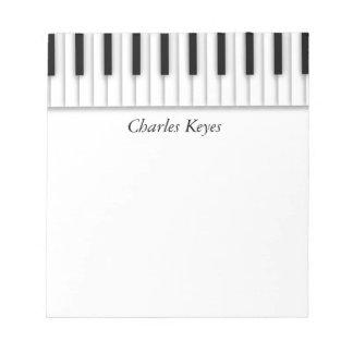 Music Piano Keys Black White Notepad