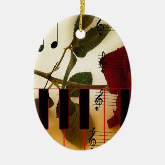 Music Piano Keys Notes Teacher Roses Instruments Ceramic Ornament