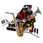 Music Piano Saxophone Trumpet 3D Art Sculpture