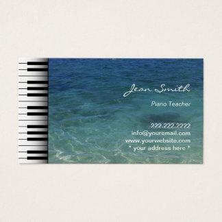 Music Piano Teacher Beach Sea Water Business Card