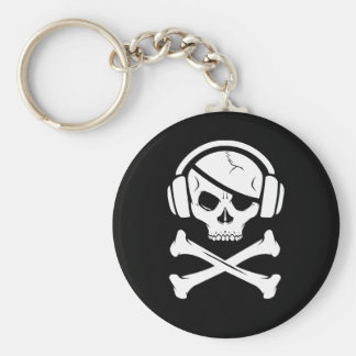 Music Pirate Piracy anti-riaa logo Basic Round Button Keychain
