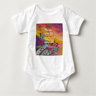 Music possesses a special charm difficult to hide baby bodysuit
