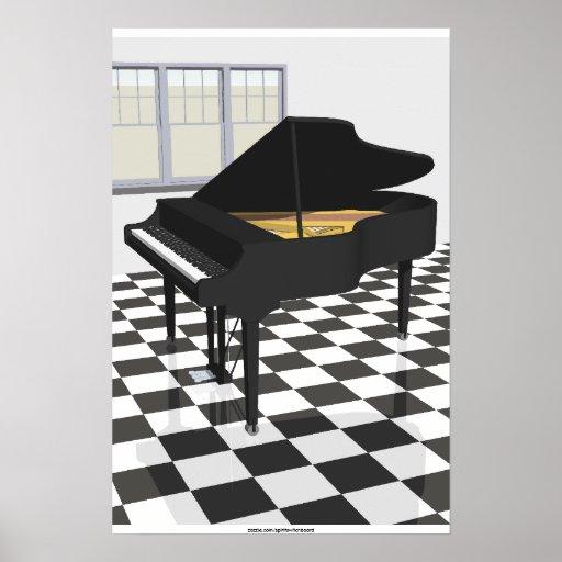 Music Poster: Grand Piano & Tiles: 3D Model