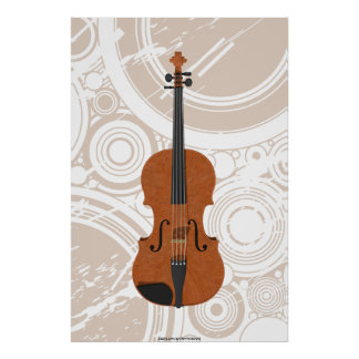 Music Poster: Violin 3D Model & Circles Poster