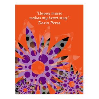 Music quote postcard with imaginary flowers
