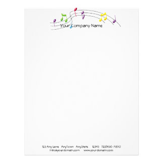 Music Rainbow Staff on White Background Letterhead