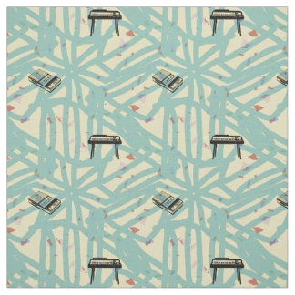 Music Retro Organ recorder Pattern Graffiti Fabric