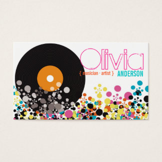 Music Retro Vintage Vinyl Colorful Pop Dots Artist Business Card
