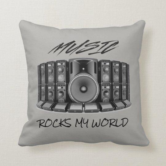 MUSIC ROCKS MY WORLD! THROW PILLOW