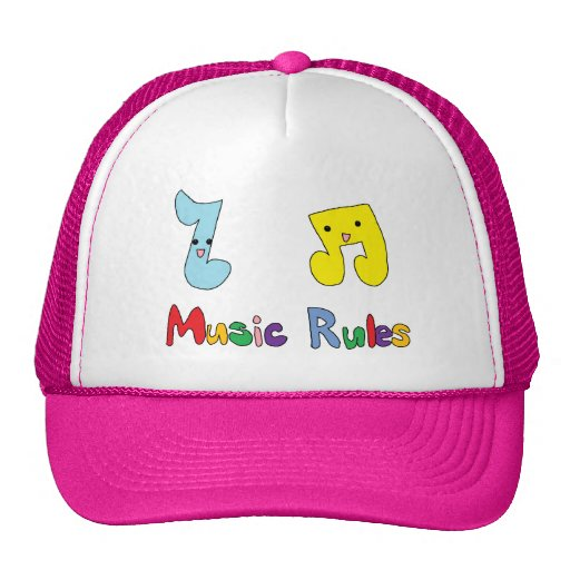 Music Rules Cute Music Notes Mesh Hat