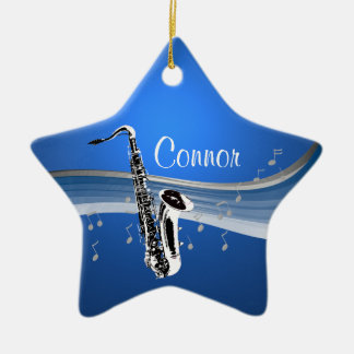 Music Saxophone Ceramic Star Ornament