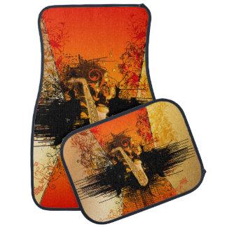 Music, saxophone with grunge auto mat
