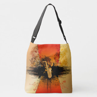 Music, saxophone with grunge crossbody bag