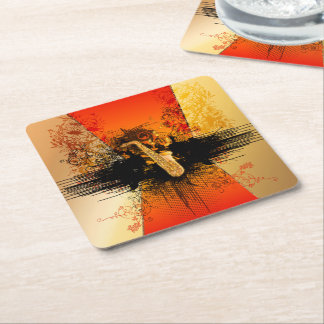 Music, saxophone with grunge square paper coaster