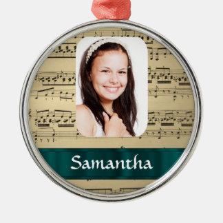Music sheet photo template metal ornament