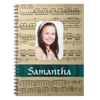 Music sheet photo template notebook