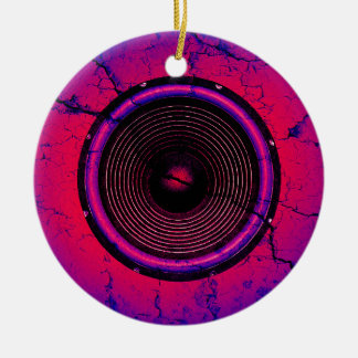 Music speaker on a cracked wall ceramic ornament