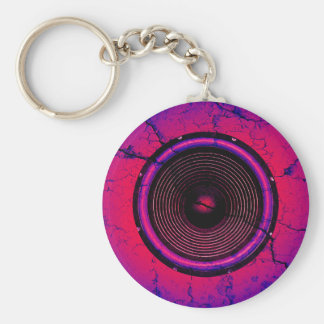 Music speaker on a cracked wall keychain