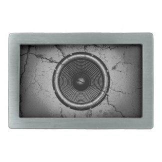 Music speaker on a cracked wall rectangular belt buckle