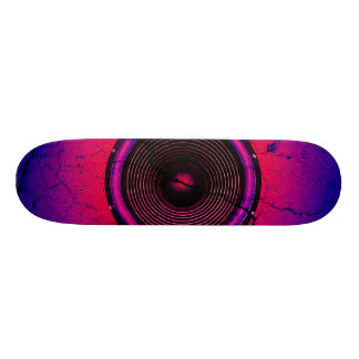 Music speaker on a cracked wall skateboards