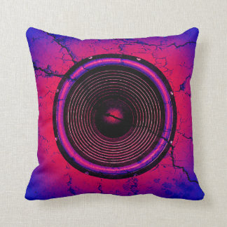 Music speaker on a cracked wall throw pillow