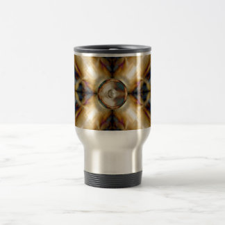 Music speaker on a gold cross background travel mug