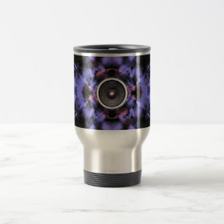 Music speaker on a purple background travel mug