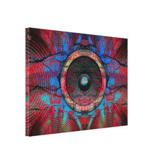 Music speakers on a cracked wall canvas print