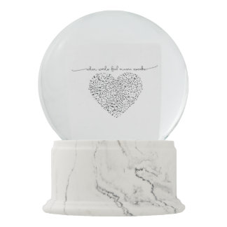 Music Speaks Heart (Black Text) Custom Color Snow Globe