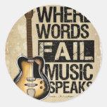 music speaks round stickers