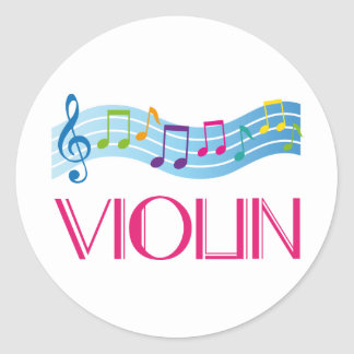 Music Staff and Violin Musical Gift Classic Round Sticker