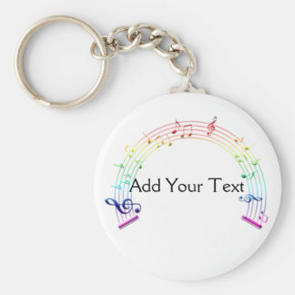 Music Staff Semi-Circle Rainbow on White Basic Round Button Keychain