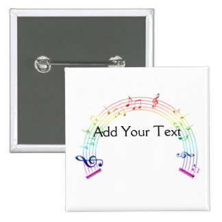 Music Staff Semi-Circle Rainbow on White 2 Inch Square Button