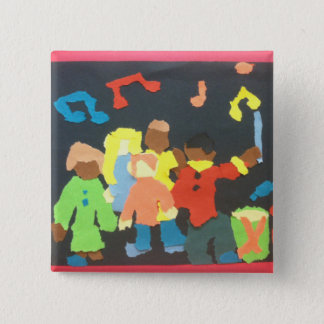 Music Students Paper Collage Button