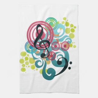 Music swirl kitchen tea towel