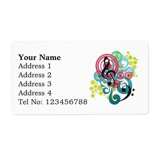 Music Swirl Shipping labels (L)