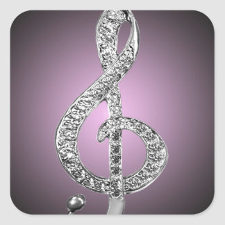 Music Symbols G-clef Square Sticker