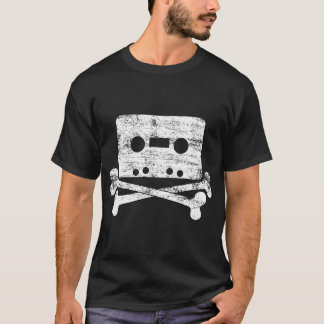 Music Tape Cassette and Cross Bones T-Shirt
