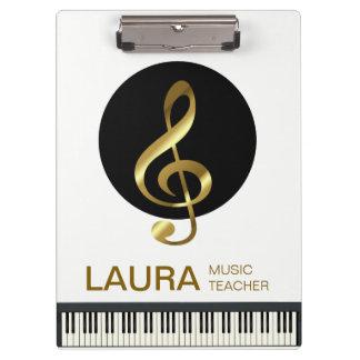 Music Teacher Gold Piano Keyboard Musician DJ Clipboard