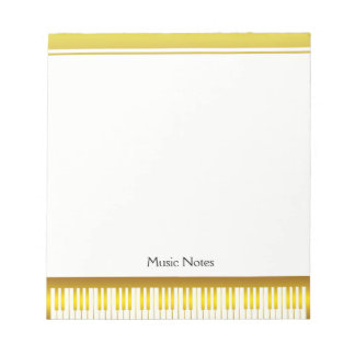 Music Teacher Gold Piano Keyboard Musician DJ Notepad