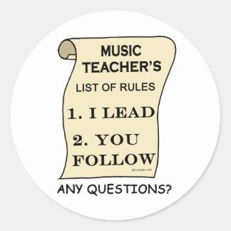 Music Teacher List Of Rules Classic Round Sticker