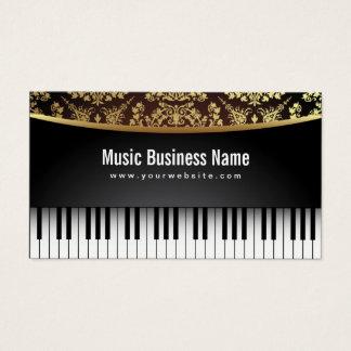 Music Teacher Luxury Realistic Piano Business Card