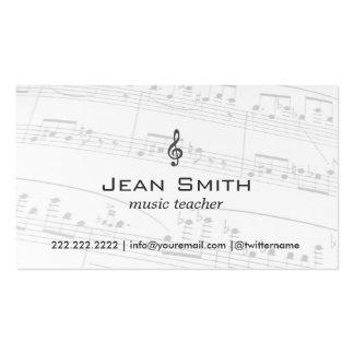 Music Teacher Music Notes Elegant Pack Of Standard Business Cards