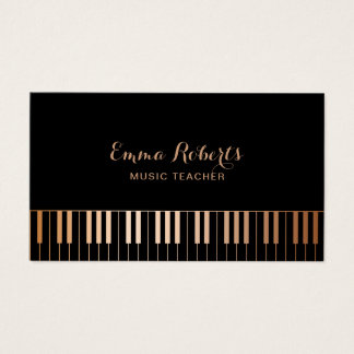 Music Teacher Piano Keys Elegant Black & Gold Business Card
