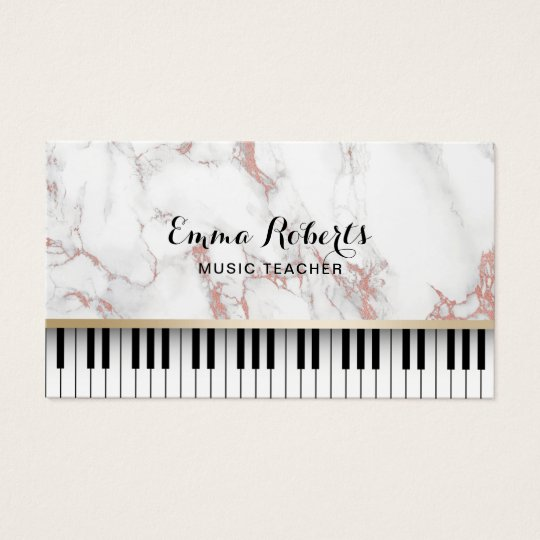 Music Teacher Piano Keys Trendy Rose Gold Marble Business Card