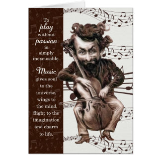 Music Teacher Retirement - Funny Vintage Cellist Card